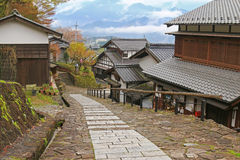 Foggy afternoon at the well preserved village in Magome - juku i Royalty Free Stock Photography