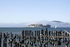 Foggy Alcatraz Prison Royalty Free Stock Photography