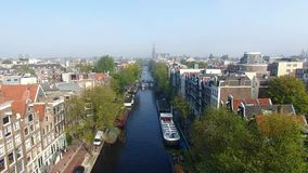 Foggy Amsterdam, view from above stock video footage