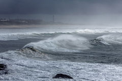 Foggy Atlantic waves Stock Images