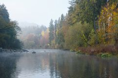 River Ohre. Foggy aun morning on the river Ohri in the Czech Republic royalty free stock image