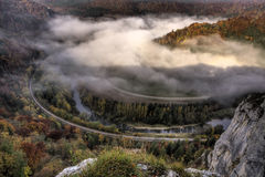 Foggy Autumn in the Donau vally in Germany Stock Photos