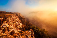 Foggy autumn evening in Val Rosandra Royalty Free Stock Image