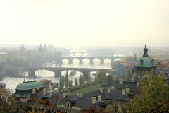 Foggy Autumn In Prague Royalty Free Stock Photos