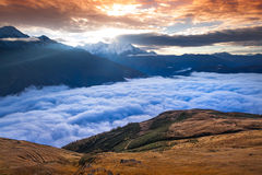 Foggy autumn morning in the Caucasus mountain. Stock Photo