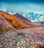 Foggy autumn morning in the Caucasus mountain. Royalty Free Stock Photo
