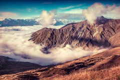 Foggy autumn morning in the Caucasus mountain. Stock Images