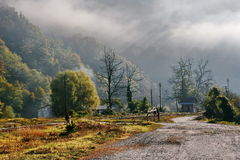 Foggy Autumn Morning In Romania Royalty Free Stock Photo