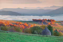 Foggy autumn morning in mountain village Royalty Free Stock Photography