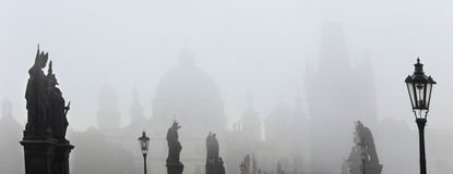Foggy autumn Prague Old Town from Charles Bridge, Czech Republic Royalty Free Stock Photo