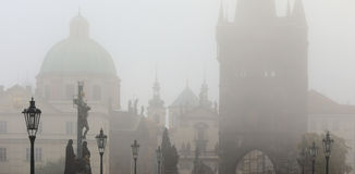 Foggy autumn Prague Old Town with Charles Bridge, Czech Republic Royalty Free Stock Photos
