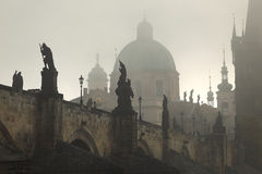 Foggy autumn Prague Old Town with Charles Bridge, Czech Republic Stock Photo