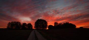 Misty sunrise. Colorful autumn sunrise Royalty Free Stock Image