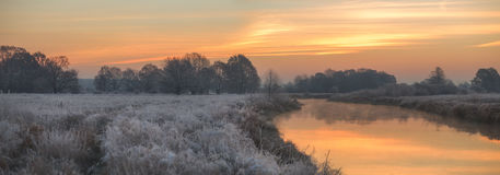 Autumn view. Cold sunrise Royalty Free Stock Photography