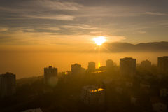 Foggy Autumn Sunset over Kvarner Stock Images