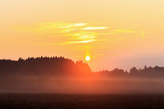 Foggy Bavarian Sunrise Royalty Free Stock Images