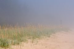 Foggy beach Royalty Free Stock Images