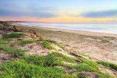 Foggy Beach Sunrise Stock Photo