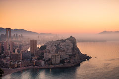 Foggy Benidorm Stock Photography