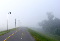 Foggy Bike Path Stock Photos