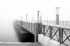 Foggy bridge. A foggy bridge in Helsingborg, Sweden Royalty Free Stock Photo