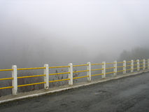 Foggy bridge in Karpenissi, Greece. Royalty Free Stock Image