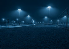 Foggy bus. Fast bus going foggy night royalty free stock photo