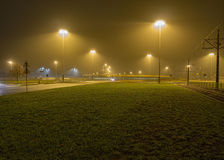 Foggy bus. Ghost bus going foggy night royalty free stock photography