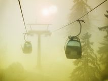 Foggy cable car Royalty Free Stock Photography