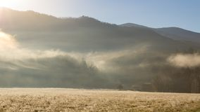 Foggy cades cove morning in great smoky mountains national park Royalty Free Stock Image