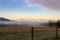 Foggy cades cove morning in great smoky mountains national park Royalty Free Stock Photos