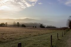 Foggy cades cove morning in great smoky mountains national park Royalty Free Stock Images
