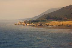 Foggy California coast at sunset Stock Photography