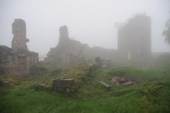 Foggy Castle Ruin / Frankenbourg Castle Ruin Stock Images