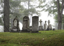 Foggy cemetery Royalty Free Stock Photography