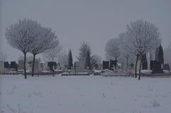 Foggy cemetery Stock Photo