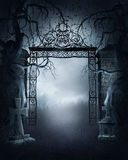 Foggy cemetery gate Stock Image