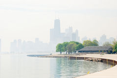 Foggy Chicago. Scene of a foggy morning in Chicago royalty free stock image