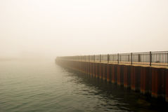 Foggy Chicago. Picture of a pier, foggy morning in Chicago stock image