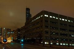 A foggy Chicago night by the Sears Willis Tower Stock Image
