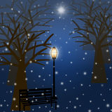 Foggy Christmas Winter Park Scene with Snowflakes. And Star Illustration Royalty Free Stock Image