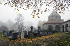 Foggy Churchyard Royalty Free Stock Photo