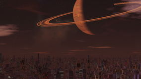 Foggy city of aliens and a huge planet stock video footage