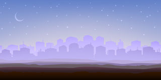 Foggy city panorama in the morning Royalty Free Stock Photo