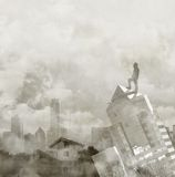 Foggy city skyline with male figure on the top of a building. Concept of global vision Royalty Free Stock Image