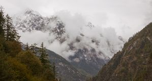 Foggy and cloudy morning mountains in himalayas. Row of mountains with green pine trees. Nepal. nearby Annapurna Stock Photography