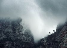 Foggy Cloudy Morning in the Mountains Royalty Free Stock Photography