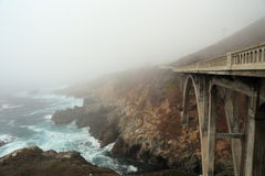 Foggy Coast. Fog over a bridge near Big Sur on California coast Royalty Free Stock Photos