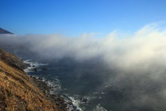 Foggy coastline. Along highway 2 near Big Sur California Royalty Free Stock Photography