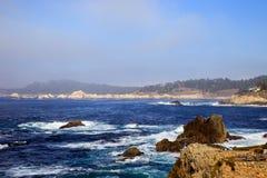Foggy coastline. Near Carmel, California Stock Images